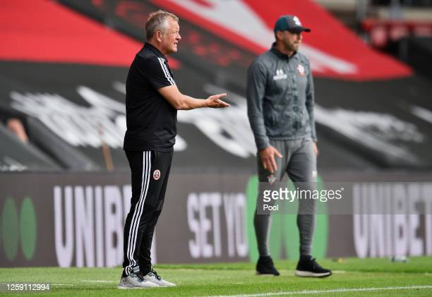 Chris Wilder Manager of Sheffield United gives his players instructions during the Premier League match between Southampton FC and Sheffield United...