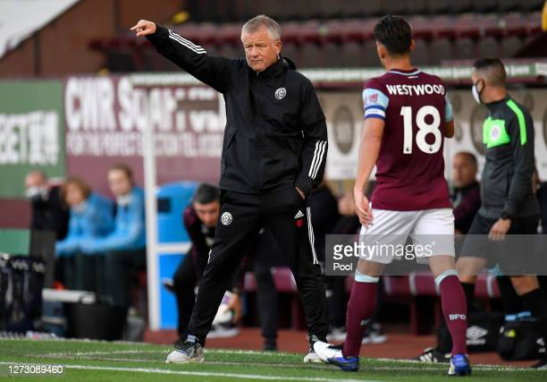 Chris Wilder Manager of Sheffield United gives his team instructions during the Carabao Cup second round match between Burnley and Sheffield United...