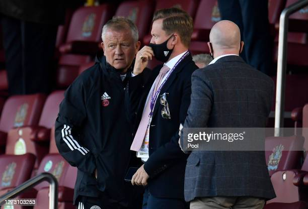 Chris Wilder Manager of Sheffield United looks on during the Carabao Cup second round match between Burnley and Sheffield United at Turf Moor on...
