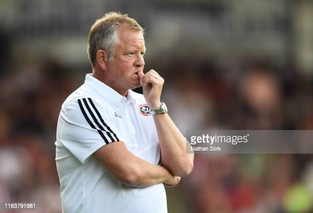 Chris Wilder manager of Sheffield United looks on during the Pre-Season Friendly match between Chesterfield and Sheffield United on July 23, 2019 in...