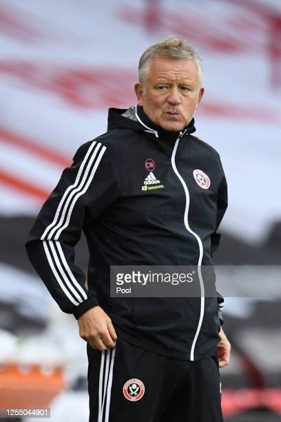 Chris Wilder, Manager of Sheffield United looks on during the Premier League match between Sheffield United and Wolverhampton Wanderers at Bramall...