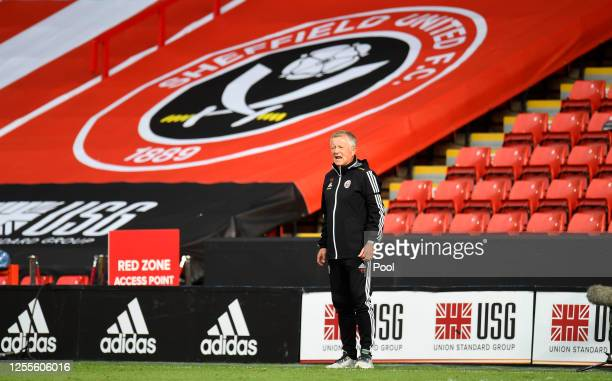 Chris Wilder, Manager of Sheffield United looks on during the Premier League match between Sheffield United and Chelsea FC at Bramall Lane on July...