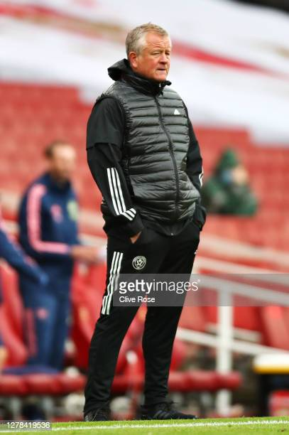 Chris Wilder, Manager of Sheffield United looks on during the Premier League match between Arsenal and Sheffield United at Emirates Stadium on...