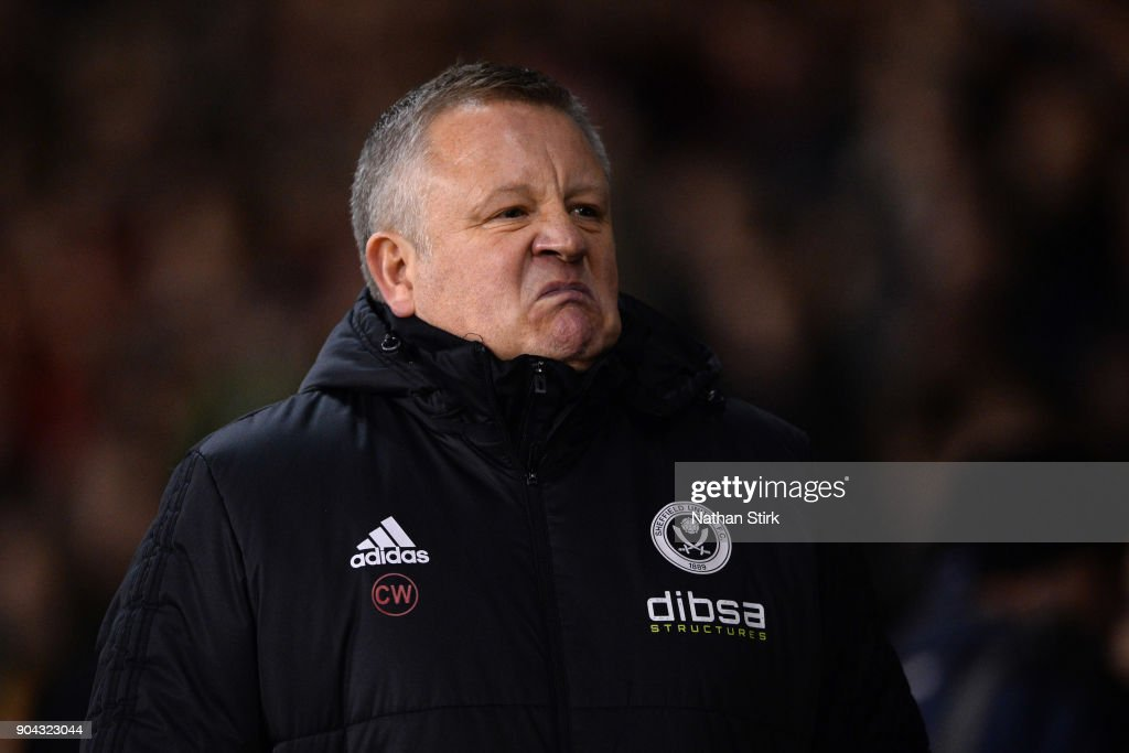 Chris Wilder manager of Sheffield United looks on during the Sky Bet Championship match between Sheffield United and Sheffield Wednesday at Bramall Lane on January 12, 2018 in Sheffield, England.