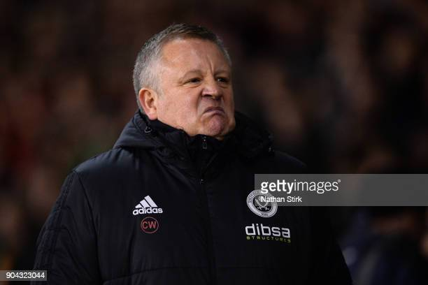 Chris Wilder manager of Sheffield United looks on during the Sky Bet Championship match between Sheffield United and Sheffield Wednesday at Bramall...