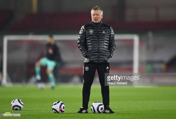Chris Wilder, Manager of Sheffield United looks on during the warm up prior to the Premier League match between Sheffield United and Liverpool at...