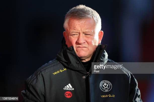 Chris WIlder, Manager of Sheffield United looks on prior to kick off during the Premier League match between Sheffield United and West Ham United at...
