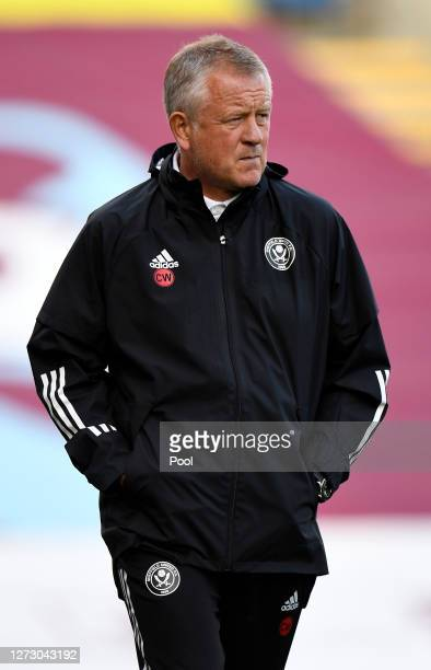 Chris Wilder, Manager of Sheffield United looks on prior to the Carabao Cup second round match between Burnley and Sheffield United at Turf Moor on...
