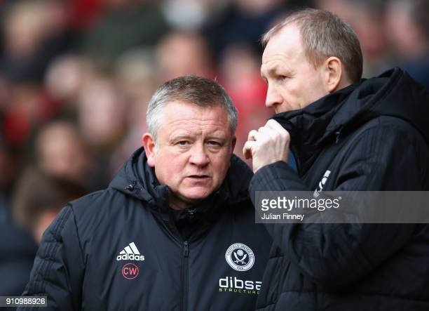 Chris Wilder Manager of Sheffield United looks on prior to The Emirates FA Cup Fourth Round match between Sheffield United and Preston North End at...