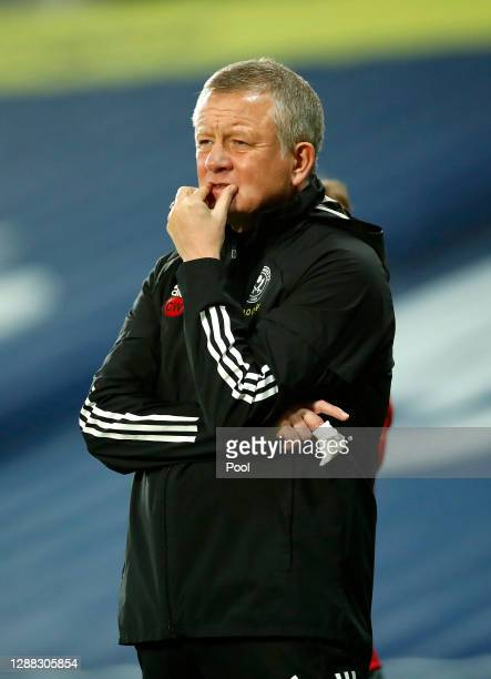 Chris Wilder, Manager of Sheffield United looks on prior to the Premier League match between West Bromwich Albion and Sheffield United at The...