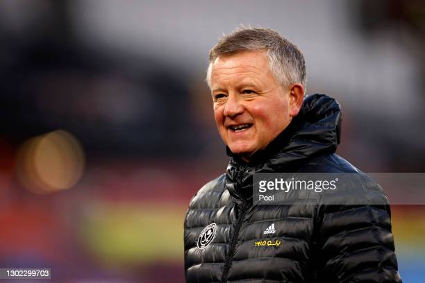 Chris Wilder, Manager of Sheffield United looks on prior to the Premier League match between West Ham United and Sheffield United at London Stadium...