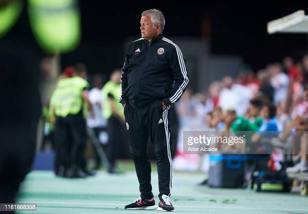 Chris Wilder Manager of Sheffield United reacts during a preseason friendly match between Real Betis Balompie and Sheffield United FC at Estadio...