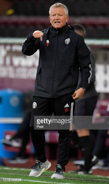 Chris Wilder, Manager of Sheffield United reacts during the Carabao Cup second round match between Burnley and Sheffield United at Turf Moor on...