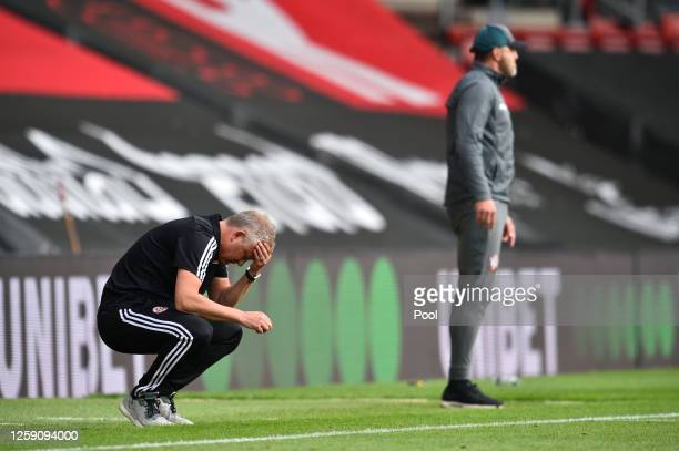 Chris Wilder, Manager of Sheffield United reacts during the Premier League match between Southampton FC and Sheffield United at St Mary's Stadium on...