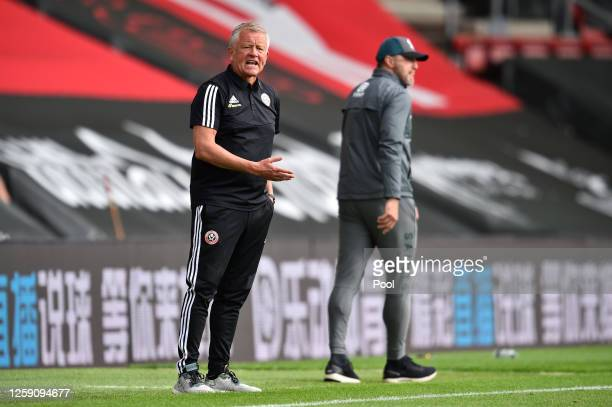 Chris Wilder Manager of Sheffield United reacts during the Premier League match between Southampton FC and Sheffield United at St Mary's Stadium on...