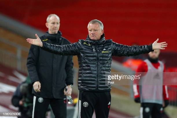 Chris Wilder, Manager of Sheffield United reacts during the Premier League match between Liverpool and Sheffield United at Anfield on October 24,...