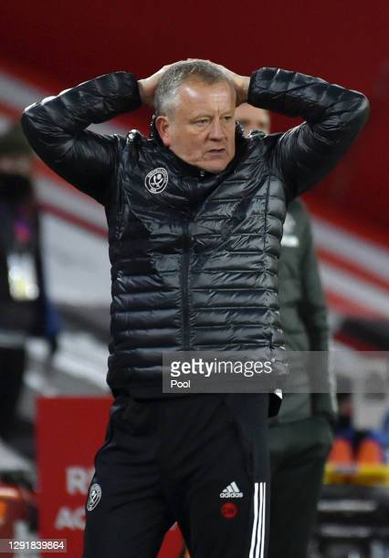 Chris Wilder, manager of Sheffield United reacts during the Premier League match between Sheffield United and Manchester United at Bramall Lane on...