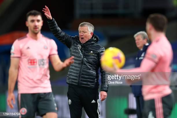 Chris Wilder, Manager of Sheffield United reacts during the Premier League match between Crystal Palace and Sheffield United at Selhurst Park on...