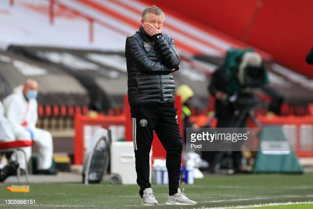 Chris Wilder, Manager of Sheffield United reacts during the Premier League match between Sheffield United and Southampton at Bramall Lane on March...