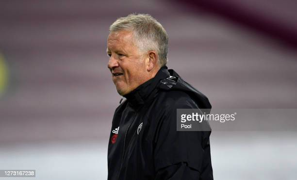 Chris Wilder, Manager of Sheffield United reacts following the Carabao Cup second round match between Burnley and Sheffield United at Turf Moor on...
