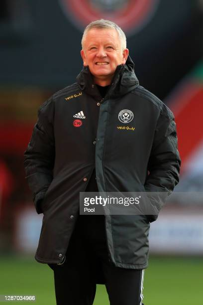 Chris WIlder, Manager of Sheffield United smiles during the warm ups prior to kick off during the Premier League match between Sheffield United and...