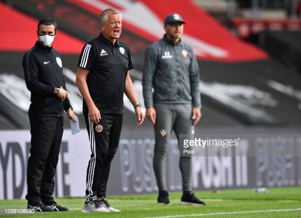 Chris Wilder Manager of Sheffield United urges on his team during the Premier League match between Southampton FC and Sheffield United at St Mary's...