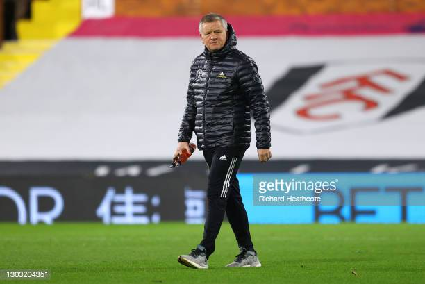 Chris Wilder, Manager of Sheffield United walks out prior to the Premier League match between Fulham and Sheffield United at Craven Cottage on...