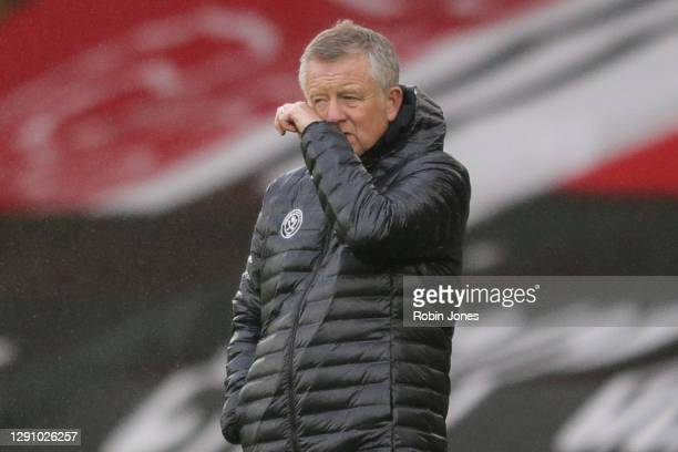 Chris Wilder of Sheffield United during the Premier League match between Southampton and Sheffield United at St Mary's Stadium on December 13, 2020...