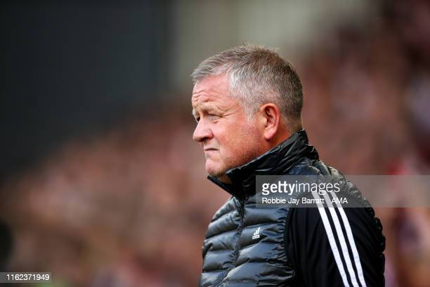 Chris Wilder the head coach / manager of Sheffield United during the Premier League match between Sheffield United and Crystal Palace at Bramall Lane...