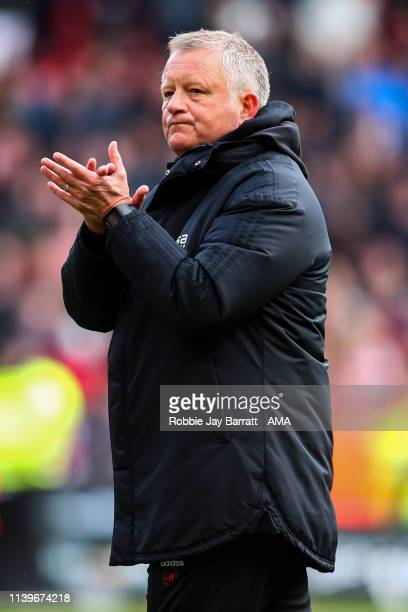 Chris Wilder the head / coach of Sheffield United celebrates during the Sky Bet Championship match between Sheffield United and Ipswich Town at...