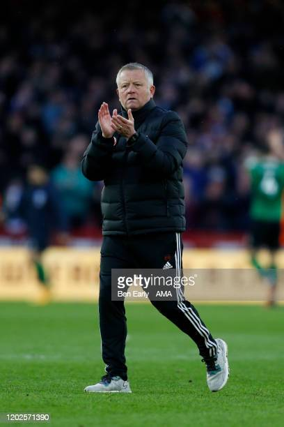Chris Wilder the Manager / Head Coach of Sheffield United applauds fans after the Premier League match between Sheffield United and Brighton & Hove...