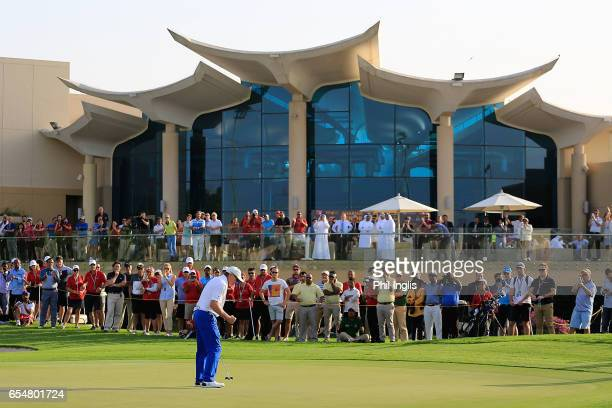 Chris Williams of South Africa celebrates in the playoff during the final round of the Sharjah Senior Golf Masters played at Sharjah Golf Shooting...