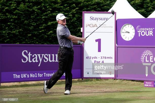 Chris Williams of South Africa in action during the ProAm ahead of the Staysure PGA Seniors Championship at Formby Golf Club on July 28, 2021 in...