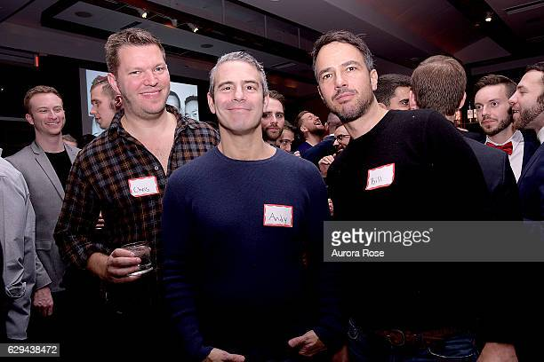 Chris Williamson Andy Cohen and Bill Curtin attend The 31st Annual Toys Party at Pier 60 on December 11 2016 in New York City