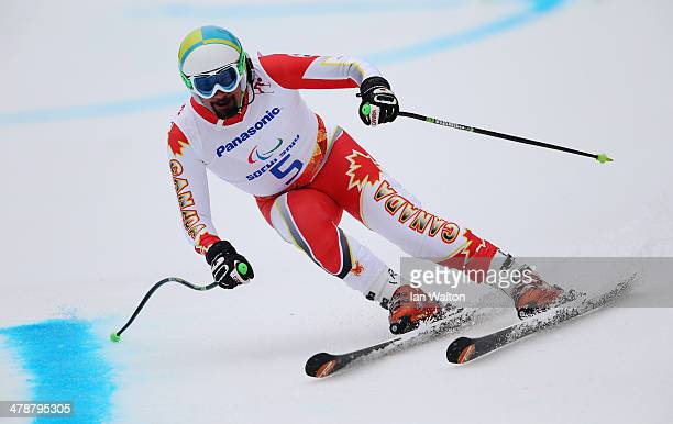 Chris Williamson of Canada competes in the Men's Giant Slalom Visually Impaired during day eight of the Sochi 2014 Paralympic Winter Games at Rosa...