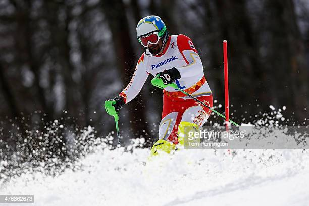 Chris Williamson of Canada competes in the Men's Slalom 1st Run Visually Impaired during day six of Sochi 2014 Paralympic Winter Games at Rosa Khutor...