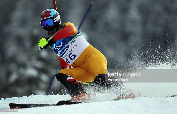 Chris Williamson of Canada competes in the Men's Visually Impaired Slalom during day 3 of the Winter Paralympics at Whistler Creekside on March 14...