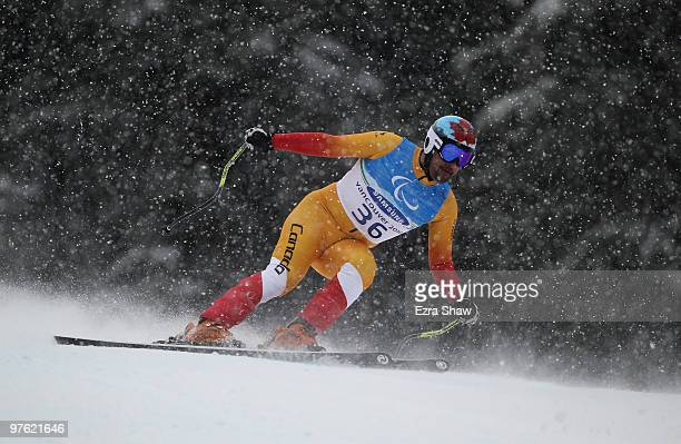 Chris Williamson of Canada practices during a training run for the Men's Visually Impaired Downhill prior to the 2010 Vancouver Winter Paralympics at...