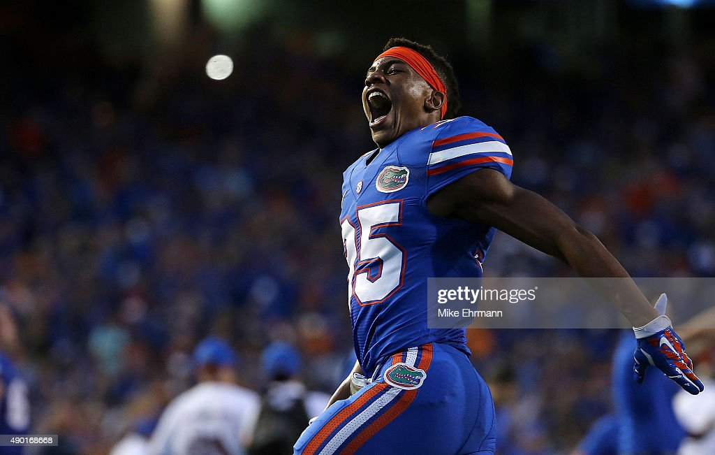 Chris Williamson of the Florida Gators reacts after winning a game ...