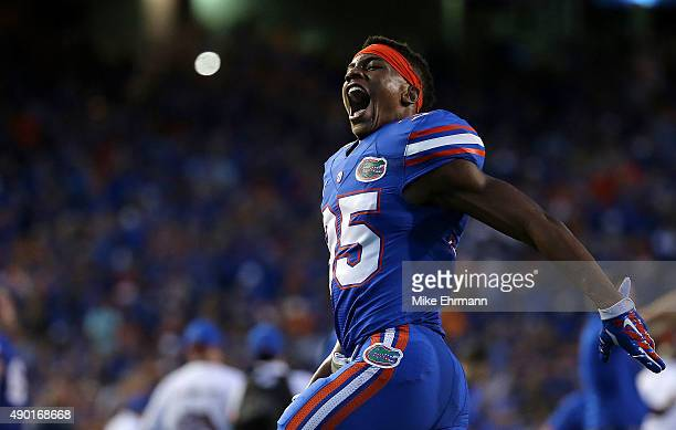 Chris Williamson of the Florida Gators reacts after winning a game against the Tennessee Volunteers at Ben Hill Griffin Stadium on September 26 2015...