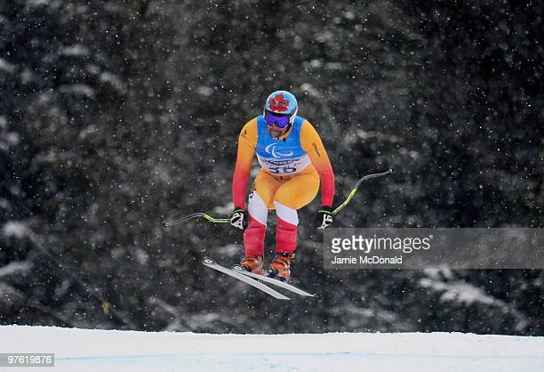 Chris Williamson of USA practices during a training run for the Men's Visually Impaired Downhill prior to the 2010 Vancouver Winter Paralympics at...