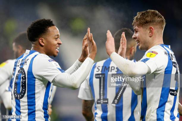 Chris Willock and Emile Smith Rowe of Huddersfield Town celebrate during the Sky Bet Championship match between Huddersfield Town and Bristol City at...