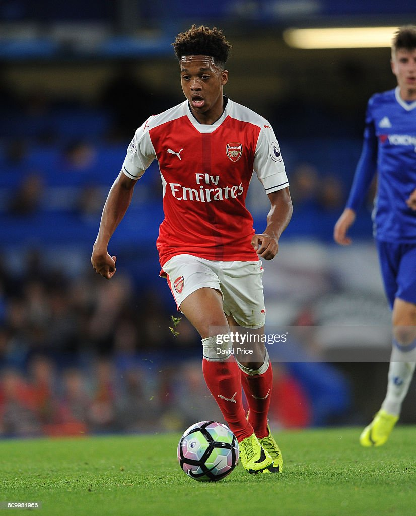 Chris Willock of Arsenal during the match between Chelsea U23 and Arsenal U23 at Stamford Bridge on September 23, 2016 in London, England.