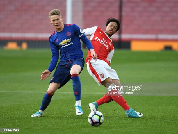 Chris Willock of Arsenal takes on Scott McTominay of Man United during the Premier League 2 match between Arsenal and Manchester United at Emirates...