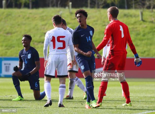 Chris Willock of England celebrates as he scores their fourth goal during the UEFA U19 International qualifiying match between England and Belarus at...