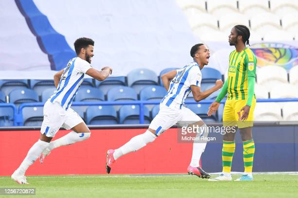 Chris Willock of Huddersfield Town celebrates after scoring his team's first goal during the Sky Bet Championship match between Huddersfield Town and...
