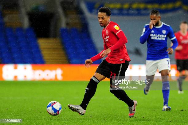 Chris Willock of QPR in action during the Sky Bet Championship match between Cardiff City and QPR at the Cardiff City Stadium on January 20, 2021 in...