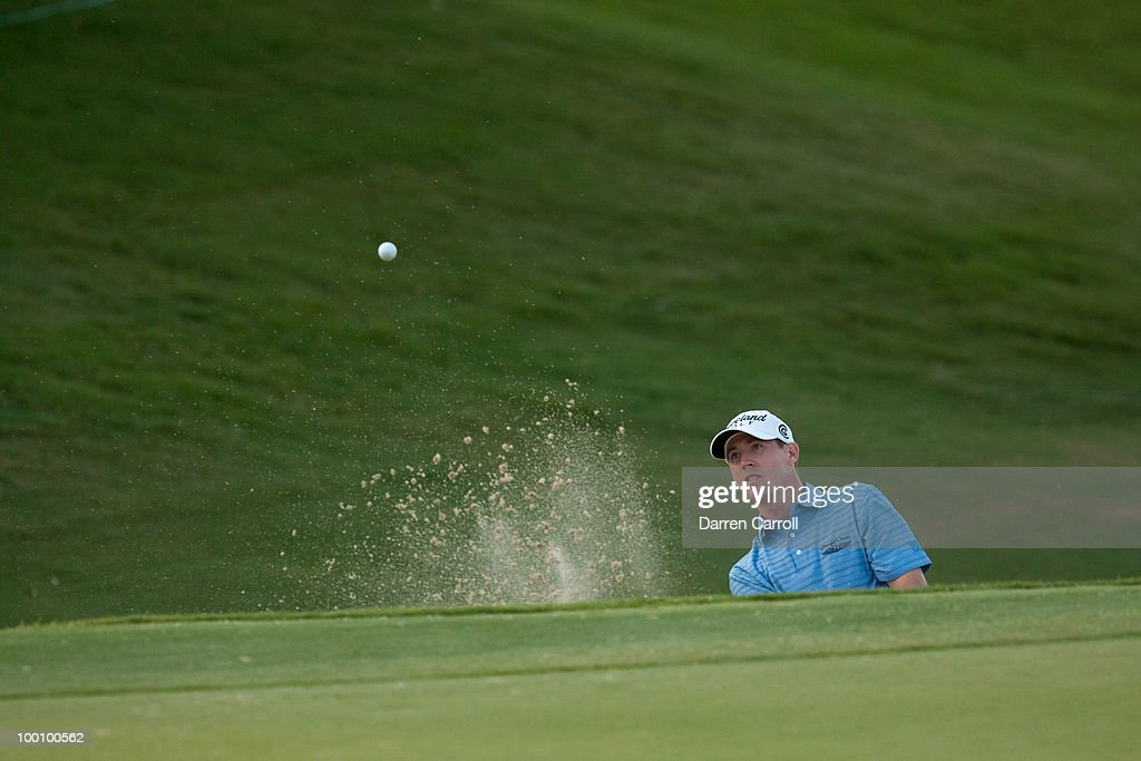 Chris Wilson plays a bunker shot during the first round of the HP Byron Nelson Championship at TPC Four Seasons Resort Las Colinas on May 20, 2010 in Irving, Texas.