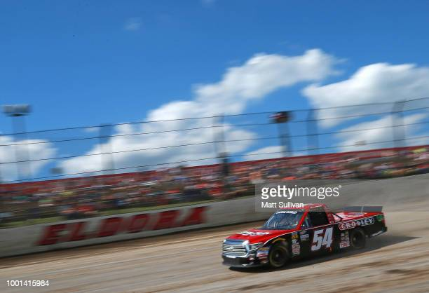 Chris Windom driver of the Baldwin Brothers/CROSLEY BRANDS drives during qualifying for the NASCAR Camping World Truck Series Eldora Dirt Derby at...