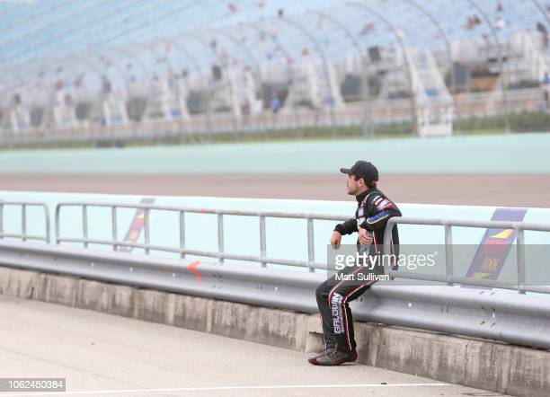 Chris Windom driver of the Baldwin Brothers/Crosley Brands Toyota looks on during qualifying for the NASCAR Camping World Truck Series Ford EcoBoost...